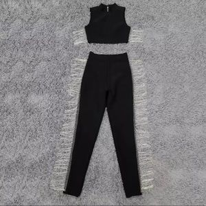 Pants - Bandage black two-piece set fitted body trousers